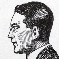 Line drawing of the head of Frank Gilberston